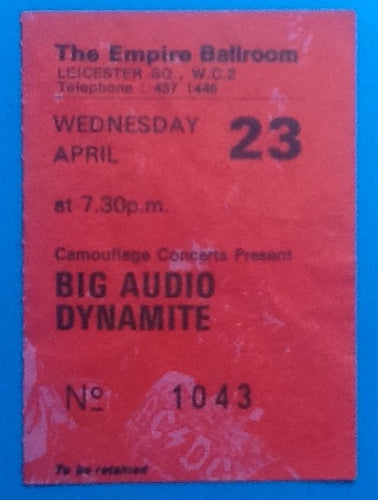 Big Audio Dynamite Used Concert Ticket London 1986