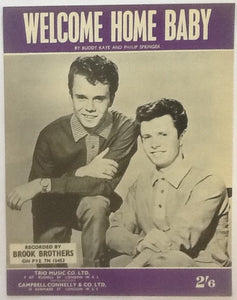 Brook Brothers Welcome Home Baby Original Mint Sheet Music 1962