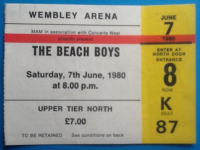 Beach Boys Original Used Concert Ticket Wembley Arena London 7th June 1980