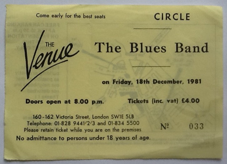 Blues Band Original Used Concert Ticket The Venue London 1981