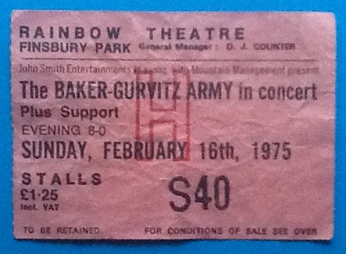 Baker Gurvitz Army Original Used Concert Ticket London 1975