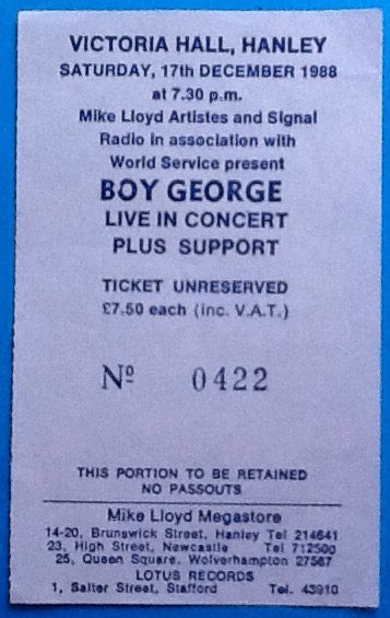 Boy George Original Used Concert Ticket Hanley 1988