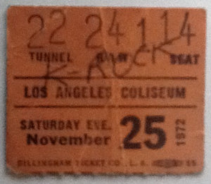 Bee Gees Eagles Mott the Hoople Original Used Concert Ticket Los Angeles Coliseum 1972