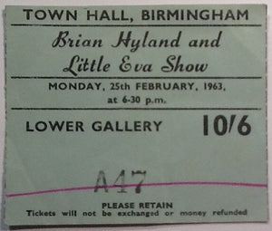 Brian Hyland and Little Eva Show Original Used Concert Ticket Birmingham 1963