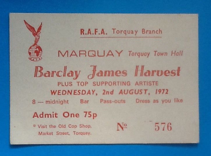 Barclay James Harvest Concert Ticket Torquay 1972