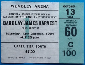 Barclay James Harvest Original Used Concert Ticket Wembley Arena London 1984