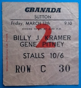 Billy J. Kramer Gene Pitney Original Used Concert Ticket Sutton 1964
