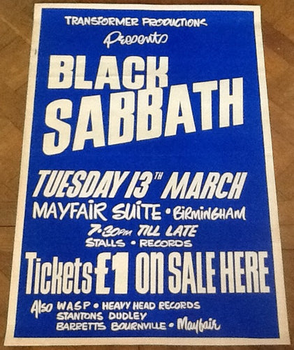 Black Sabbath Original Concert Tour Gig Poster Mayfair Suite Birmingham 1973