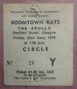 Boomtown Rats Used Concert Ticket Glasgow 1978