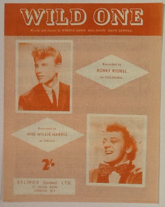 Bobby Rydell Wee Willie Harris Wild One Original Mint Sheet Music 1960