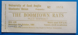 Boomtown Rats Original Used Concert Ticket Norwich 1984