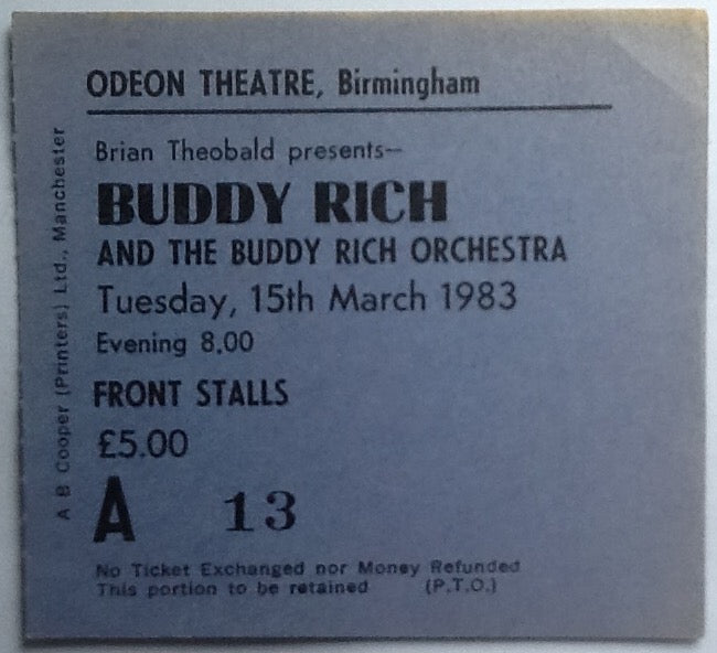 Buddy Rich Original Used Concert Ticket Odeon Theatre Birmingham 1983