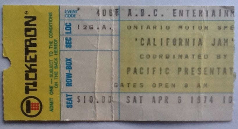 Black Sabbath Deep Purple ELP Original Used Concert Ticket California Jam Ontario 1974
