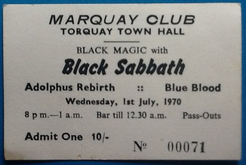 Black Sabbath Original Concert Ticket Marquay Club Torquay 1970