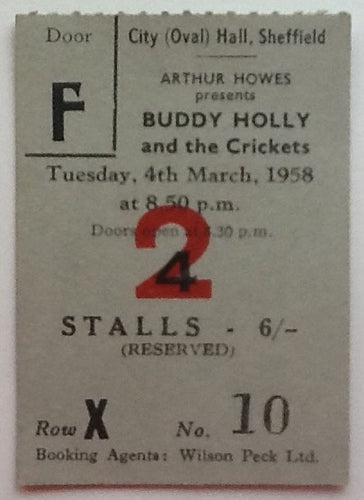 Buddy Holly & the Crickets Original Used Concert Ticket City Hall Sheffield 1958