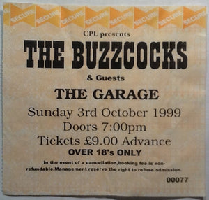 Buzzcocks Original Used Concert Ticket The Garage Glasgow 1999