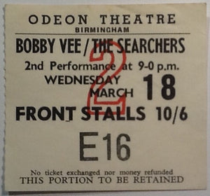 Bobby Vee & Searchers Original Used Concert Ticket Birmingham 1964