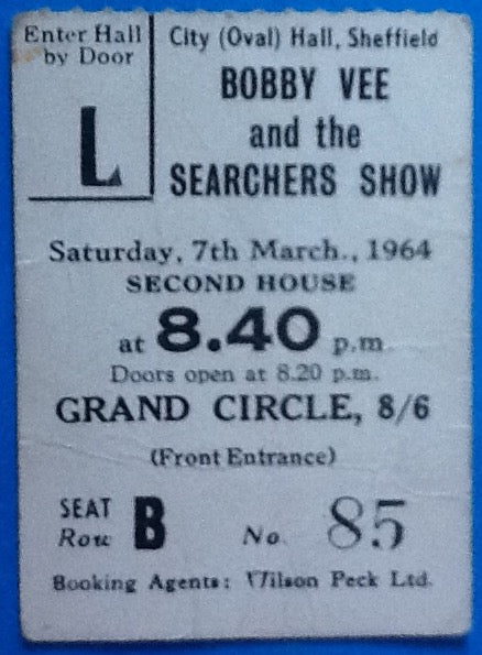 Bobby Vee The Searchers Original Used Concert Ticket Sheffield 1964