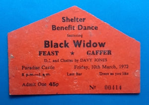 Black Widow Original Concert Ticket Torquay 1972