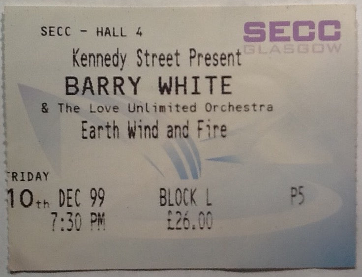 Barry White Original Used Concert Ticket SECC Glasgow 1999