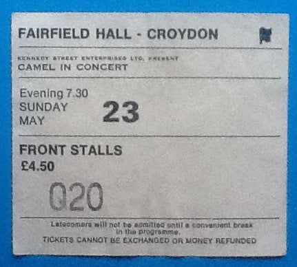 Camel Original Used Concert Ticket Croydon 1982