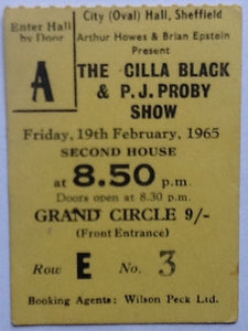 Cilla Black PJ Proby Original Used Concert Ticket Sheffield 1965