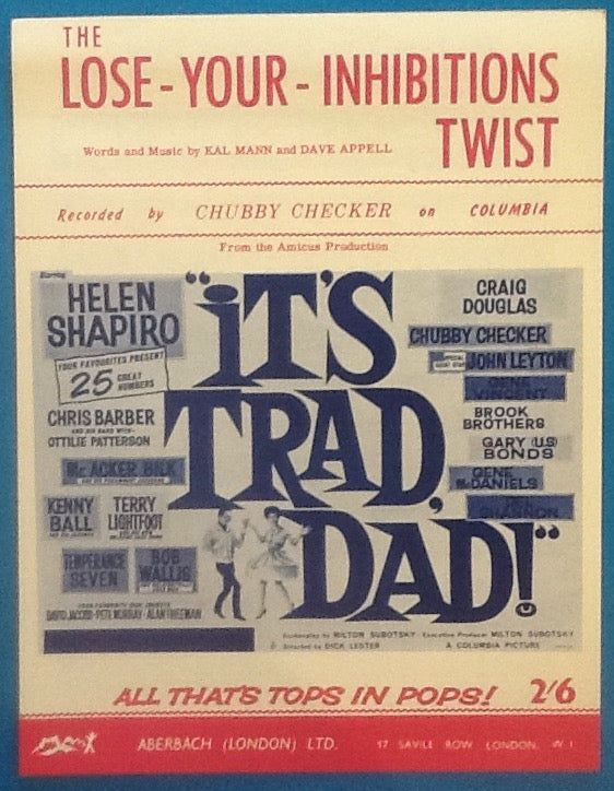 Chubby Checker The Lose Your Inhibitions Twist Original Mint sheet Music 1962
