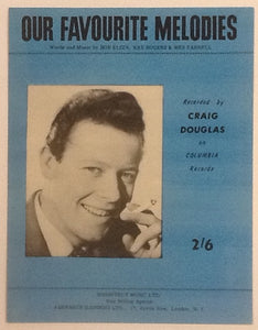 Craig Douglas Our Favourite Melodies Original Mint Sheet Music 1962