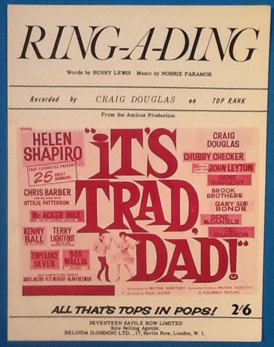 Craig Douglas Ring-A-Ding Original Mint Sheet Music 1962