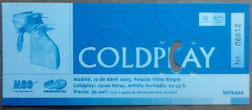 Coldplay Original Used Concert Ticket Madrid 2003