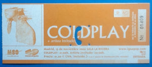Coldplay Original Used Concert Ticket Madrid 2002