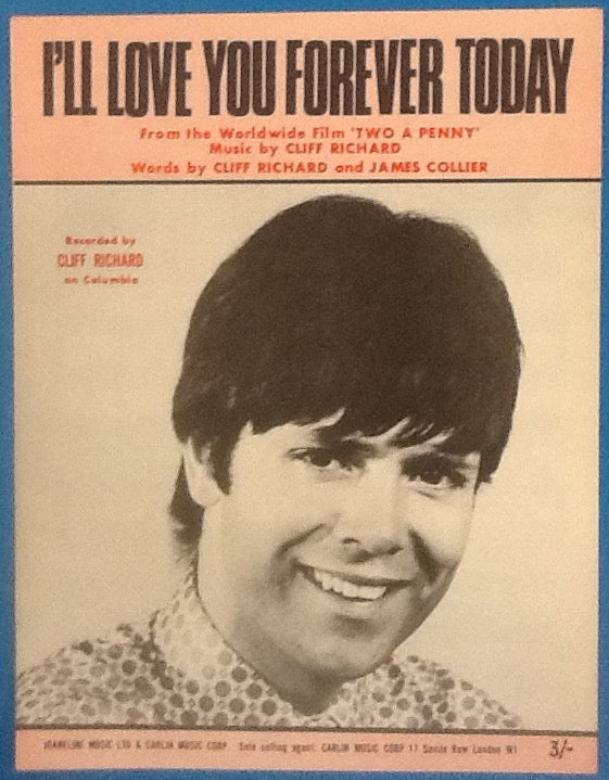 Cliff Richard I'll Love You Forever Today Original Mint Sheet Music 1968