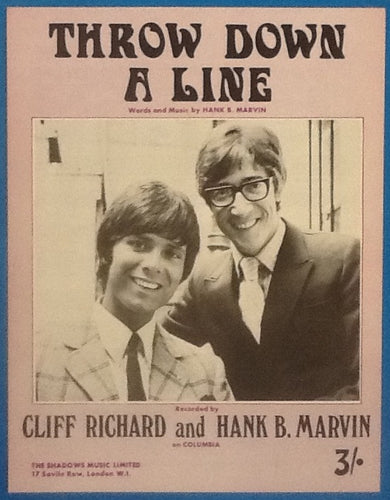 Cliff Richard and Hank B. Marvin Throw Down A Line Original Mint Sheet Music 1969