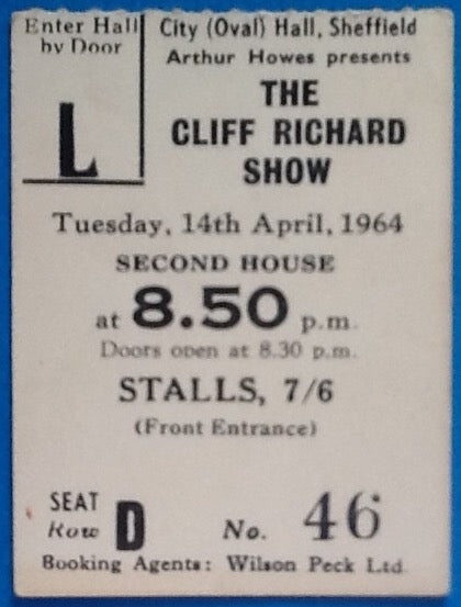 Cliff Richard Shadows Original Used Concert Ticket Sheffield 1964
