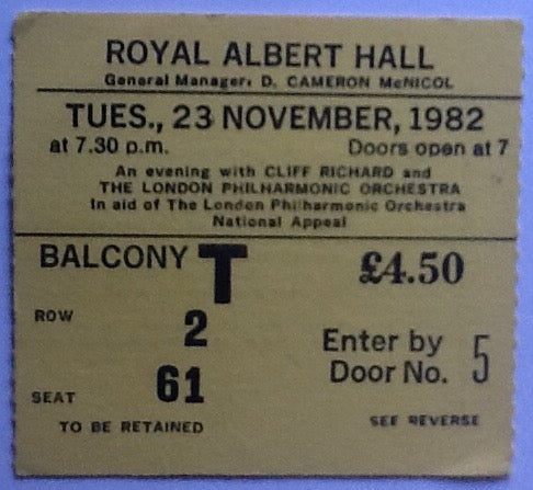 Cliff Richard Original Used Concert Ticket Royal Albert Hall London 1982