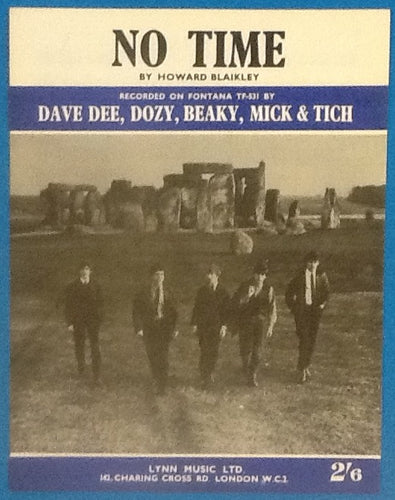 Dave Dee Dozy Beaky Mick & Tich No Time Original Mint Sheet Music 1964