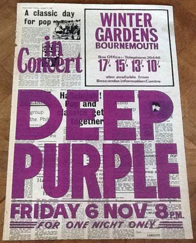 Deep Purple Rare Original Concert Tour Gig Poster Winter Gardens Bournemouth 1970