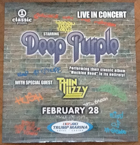 Deep Purple Thin Lizzy Original Concert Tour Gig Poster Trump Marina Atlantic City 2004