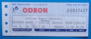 Deborah Harry Blondie Original Used Concert Ticket London 1991
