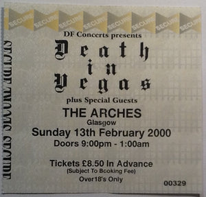 Death in Vegas Original Used Concert Ticket Glasgow 2000
