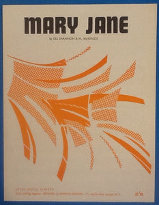 Del Shannon and M. McKenzie Mary Jane Original Mint Sheet Music 1964