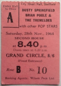Dusty Springfield Brian Poole Original Used Concert Ticket Sheffield 1964