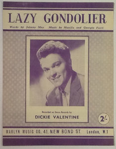 Dickie Valentine Lazy Gondolier Original Mint Sheet Music 1954