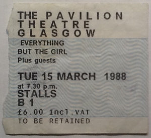 Everthing But The Girl Original Used Concert Ticket Glasgow Pavilion Theatre 1988
