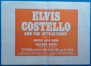 Elvis Costello Original Concert Handbill Flyer Bournemouth 1978