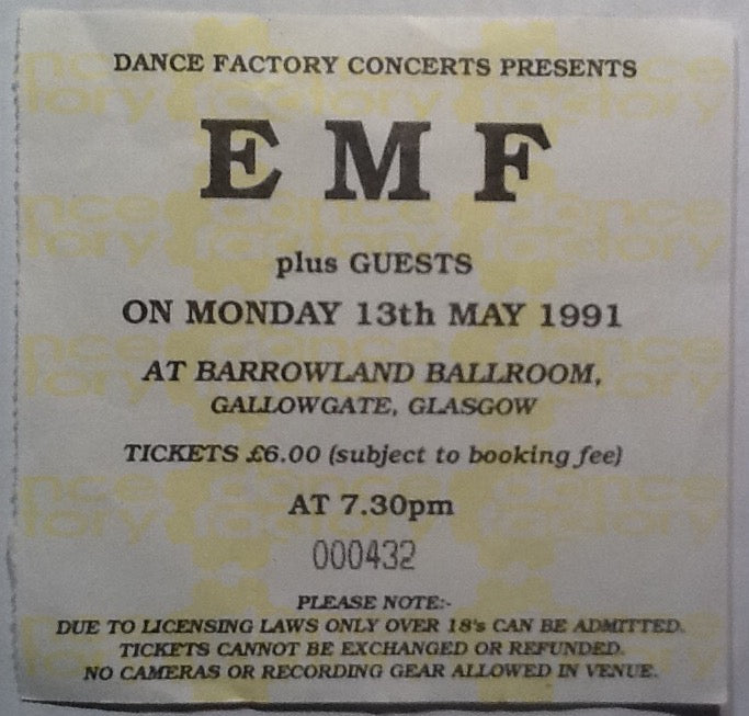 EMF Original Used Concert Ticket Glasgow Barrowlands 1991