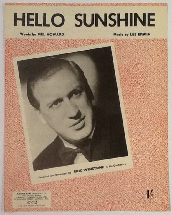 Eric Winstone Hello Sunshine Original Mint Sheet Music 1953