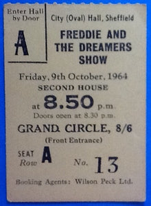 Freddie & the Dreamers Hollies Original Used Concert Ticket Sheffield 9th Oct 1964
