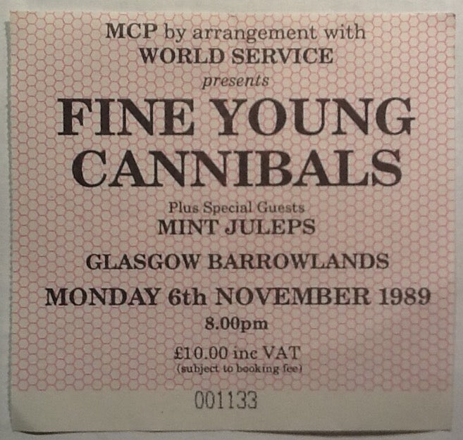 Fine Young Cannibals Original Used Concert Ticket Glasgow Barrowlands 1989