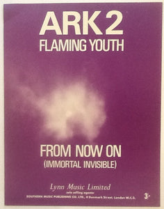 Flaming Youth Ark 2 From Now On (Immortal Invisible) Original Mint Sheet Music 1969
